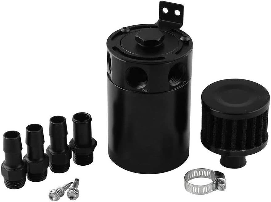 DEDC Depósito de Aceite de Coche con Tres Agujeros Transpirable Universal Aluminio Tanque Lata Caldera de Aceite para Mantener Motor Limpio