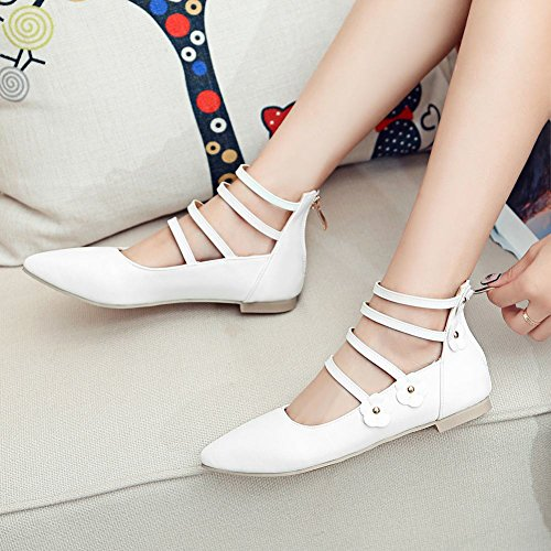 Charm Foot Womens Strappy Pointed Toe Flats Sandals White rU2BUw