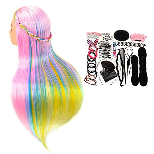 "Price comparison product image Neverland Beauty 26"" Cosmetology Mannequin Head 100% Synthetic Hair Rainbow Color, Practice Training Hair Styling Mannequin Head with Table Clamp Holder + Hair Styling Braid Set"