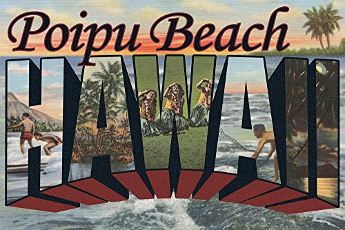 Poipu Beach, Hawaii - Large Letter Scenes (12x18 Fine Art Print, Home Wall Decor Artwork Poster)