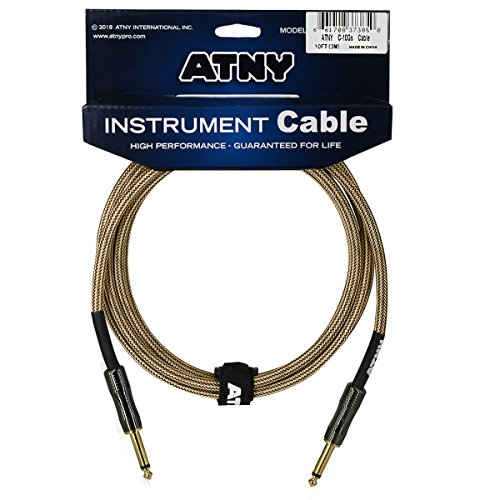 (ATNY Braided Electric Guitar Cable – Professional Grade Musical Instrument Amplifier Cord with Nickel-Plated Dual Straight Plugs and Champagne Gold Tweed (10 Feet, Champagne Gold))