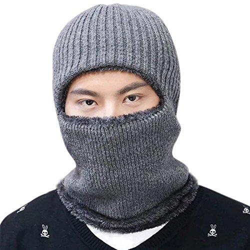 JOYEBUY Warm Knitted Balaclava Beanie Hat Windproof Ski Face Mask Winter Hats (Grey)