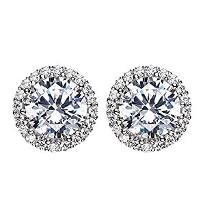 L&S, Stunning Round Steriling Silver Earring with AAA Zircon for Women, Girls