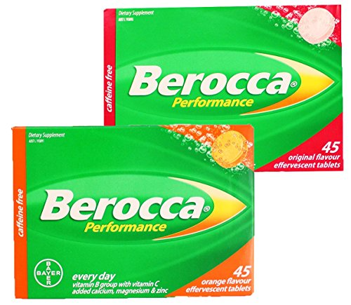 Berocca Performance Everyday Effervescent Tablets 45 Pack (Choose Original Raspberry or Orange Flavor) – Imported Directly From Australia (Orange) Review