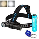 OLIGHT H2R Nova 2300 Lumens LED Rechargeable Headlamp - Available in Neutral White or Cool White LED & LumenTac LED Keychain Flashlight (Cool White)