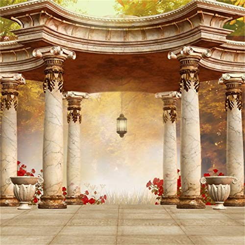 CSFOTO 8x8ft Background A Gazebo in Park with Red Autumn Flowers Wedding Ceremony Photography Backdrop Dreamy Romantic Party Decor Architecture Tour Vacation Photo Studio Props Vinyl Wallpaper]()