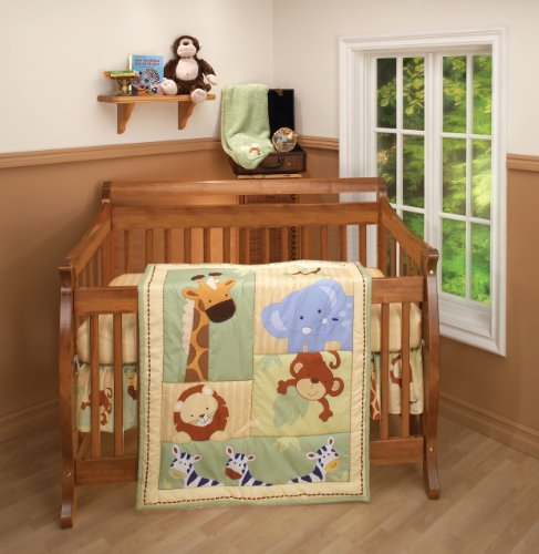 Baby Bedding Set Infant Crib - Nojo 3 Piece Comforter Set, Safari Kids