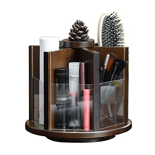 CJC Storage Box Rotate Cosmetic Storage Box Retro Dressing Desk Desktop Protection Skin Product Storage Rack by Storage & Organization & Jewelry Boxes
