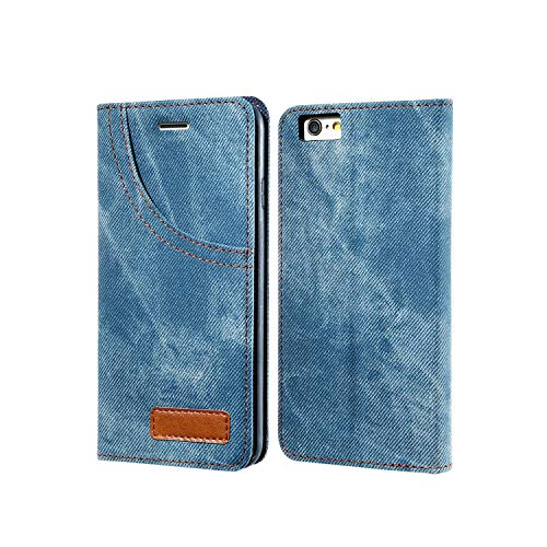 (New face Phone Case for iPhone 6 6S 7 Plus Leather Jean Denim Cloth Anti-Knock for iPhone 7 6 6s Cases Flip Card Holder Shells,Blue,for iPhone 6)