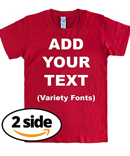 Own Red T-shirt - Circular Custom T Shirts Front & Back Add Your Text Message Ultra Soft Unisex Cotton T Shirt [Red/XL]