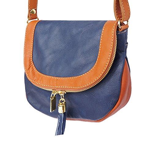 Mujer Florence Leather Al Scuro cuoio Piel De Bolso Small Para Market Hombro Blu 81rdxq8F