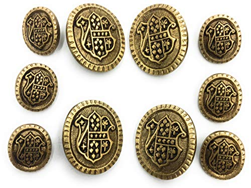 10 Antiqued Brass Gold Button Finished ~ Crest~ Coats Blazer Brass Buttons Sets -