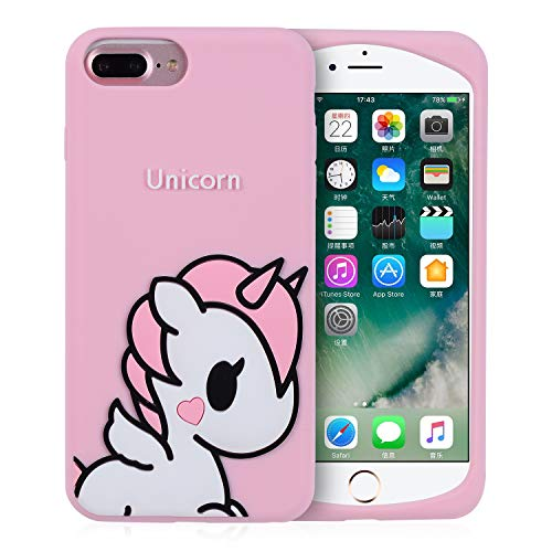 Joyleop Angel Unicorn Case for iPhone 6/6S Plus + Cover,Cute Kids Girls Teens Cartoon Shell,3D Pink Soft Silicone Animal Kawaii Character Unique Rubber Shockproof Chic Fresh Protector for iPhone6 Plus