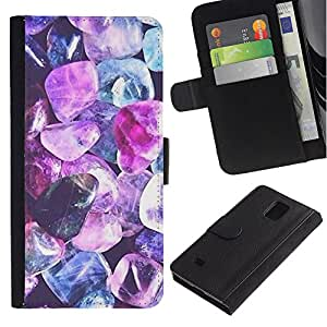 KingStore / Leather Etui en cuir / Samsung Galaxy Note 4 IV / Gem Jewel Blue Diamond