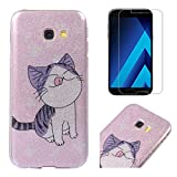 For Samsung Galaxy A5 2017 A520 Case with Screen Protector,OYIME Glitter Bling Design Ultra Thin Slim Fit Protective Back Cover Soft Silicone Rubber Shell Drop Protection Anti-Scratch Transparent Bumper and Screen Protector (Cut Cat)