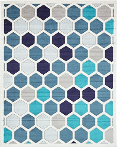 Unique Loom Metro Collection Abstract Geometric Hexagon Cream Area Rug (8' 0 x 10' 0)