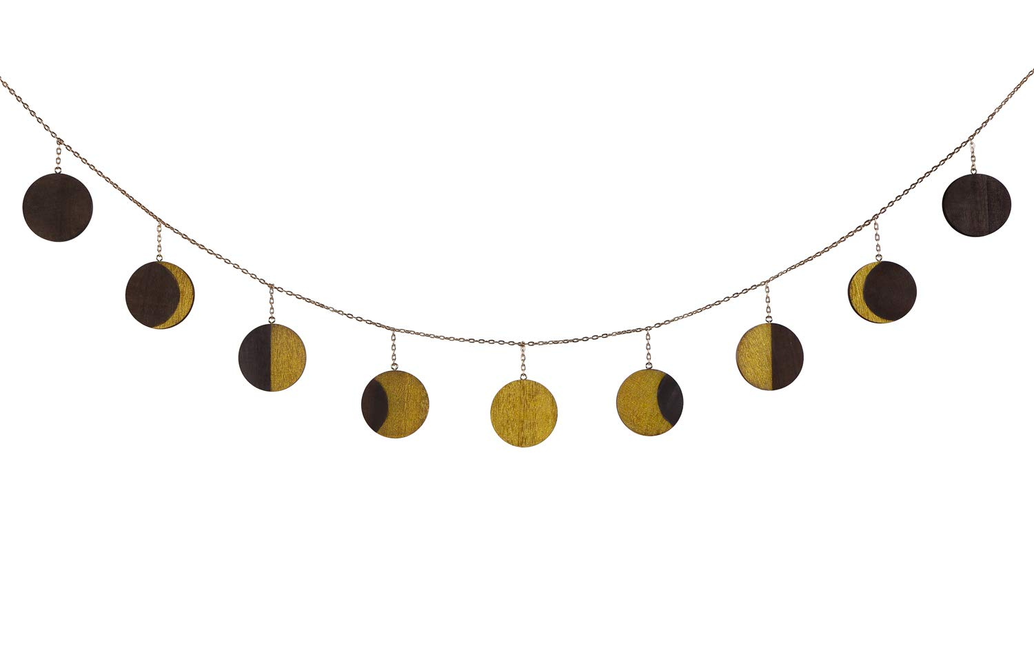 Mkono Moon Phase Garland with Chains Celestial Wall Phases,Boho Chic Bohemian Wall Decor - Apartment Dorm Office Nursery Living Room Bedroom Decorative Wall Art,Gold