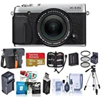 Fujifilm X-E2S Mirrorless Digital Camera with 18-55mm Lens, Silver - Bundle w/Camera Bag, 32GB SDHC U3 Card, Tripod, Spare Battery, 58mm Filter Kit, Cleaning Kit, Memory Wallet, Software Pack, More