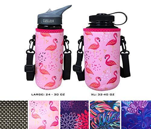 - Koverz 24-30oz 1200ml Water Bottle Carrier with Shoulder Strap, Water Bottle Insulator - Pink Flamingos