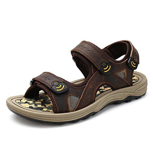 Männer Sandalen, Echtem Leder In Die Schuhe, Leder, Schuhe, Beach - Schuhe,Tief Kaffee,Eu41