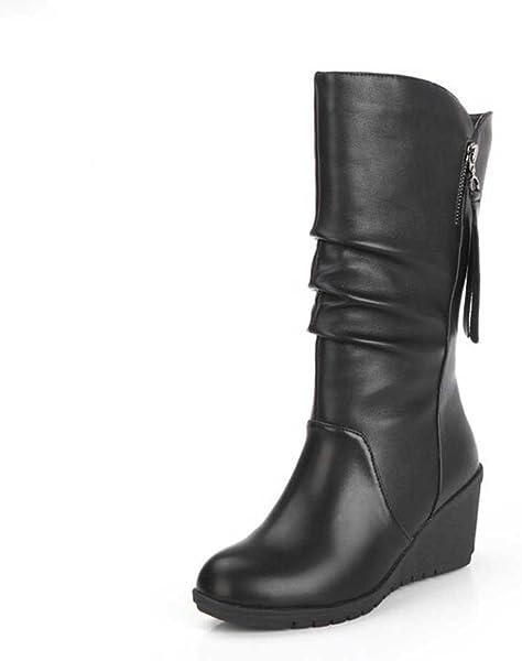 Zapatos de mujer Botines Mujer Ankle Botas Zapatos de mujer tacones altos Señoras Otoño invierno Calentar Cuñas de tacón alto Cremallera Negro Casual ...