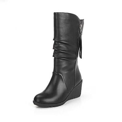 MRULIC Damen Winter Wärme Schuhe Wedges Keilabsatz