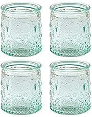 Kate Aspen Vintage Blue Glass Tealight Holder (Set of 4)