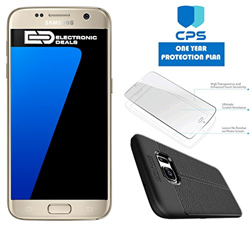 Samsung Galaxy S7 G930 Verizon CDMA/GSM Unlocked (Renewed) w/ED Bundle - $99 Value (Bundle Includes: ED Case + Screen Protector + 1 Year CPS Limited Warranty) (Gold, 32GB)