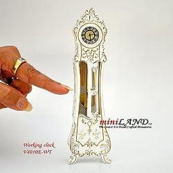 Working Dollhouse Miniature Grandfather Clock White V4010E-WT 1:12 scale