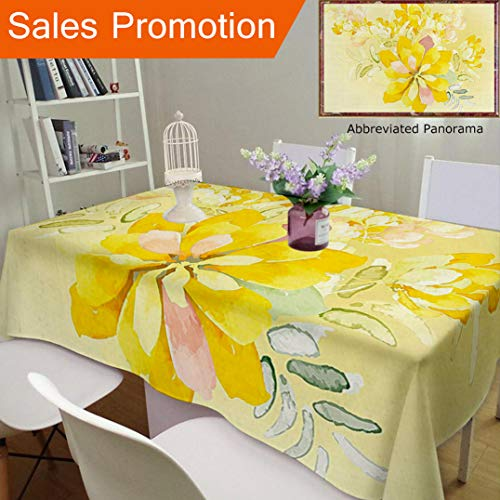 Abstract Orchid - Unique Design Cotton and Linen Blend Tablecloth Country Decor Romantic White Yellow Flowers Leaves Orchids with Abstract Backdrop Image MulticoCustom Tablecovers for Rectangle Tables, 60 x 40 Inches