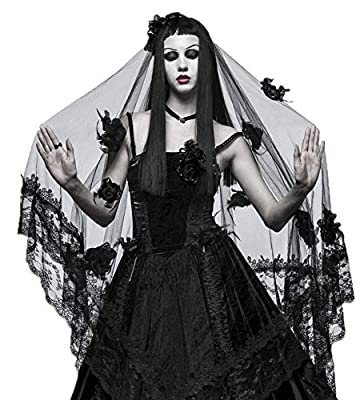 Punk Rave Women Black Gothic Witch Bridal Wedding Lace Mesh Veil Hair Accessory