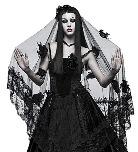 Punk Rave Women Black Gothic Witch Bridal Wedding Lace Mesh Veil Hair Accessory (One Size) (Wedding Dresses And Veils)