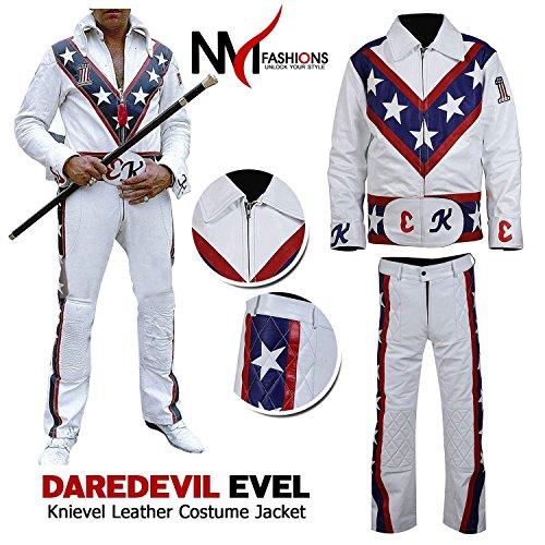 NM Fashions Men's Dare Biker Devil Evel Knievel White Hi-Quality Faux Leather Jacket -