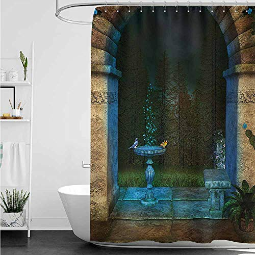 home1love Fabric Shower Curtain,Gothic Forest Landscape from Ancient Archway Birds on Fountain Fairytale Illustration,Bathroom Decoration,W72x72L,Blue Grey Green