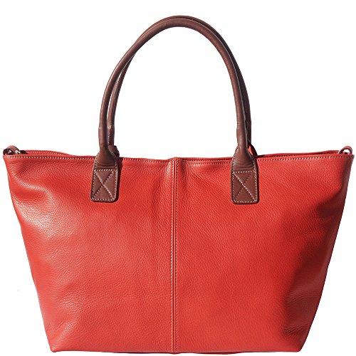 Rojo Shopping marron Tipo Suave Con 3015 Mango Y Bolso Doble En Cuero vPOqw