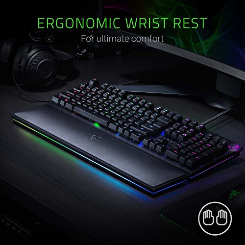 Razer Huntsman Elite Gaming Keyboard - [Opto-Mechanical Purple Key Switches][Instant Response Actuation][Chroma RGB Lighting][Magnetic Plush Wrist Rest][Dedicated Media Keys & Programmable Dial]