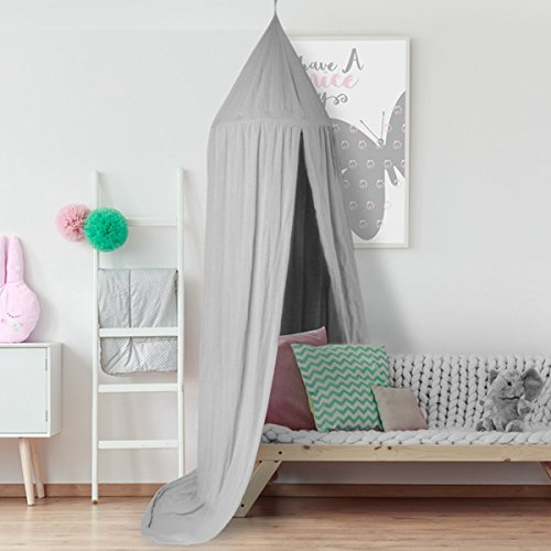 Samyoung Kids Bed Canopy Mosquito Net Witch Hat Style Round Dome Bed Canopy Screen Mantle Bed Curtain Tent Cotton Cloth Hanging Mosquito Net for Cotton Canvas(Grey) - Ultimate Witch Hat