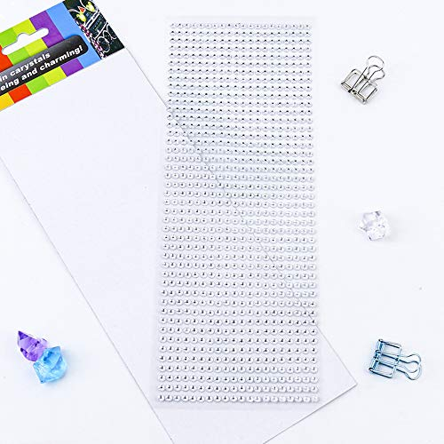 Rhinestone Stickers 10 Sheets, 8800 Pcs 4mm Acrylic Self-Adhesive Bling Craft Jewels Crystal Colorful DIY Gem Stickers, Ideal for Face,Nail,Makeup,Festival,Carnival,Crafts & Embellishments