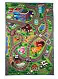 Blue Panda Play Mat - Kids Play Area Rug, Floor Activity Pretend Play Mat, Road Map Theme Baby Toy Carpet, Great for a Christmas, Secret Santa Gift, 39 x 58.4 Inches