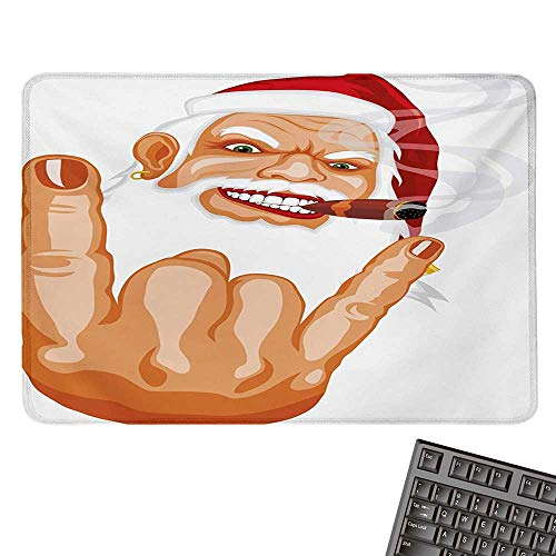 Christmascomputer Mouse padSanta Claus Making Mouse Rocker Gesture Smoking A Cigar Noel Humor CelebrationBlack Cloth Mousepad 15.7