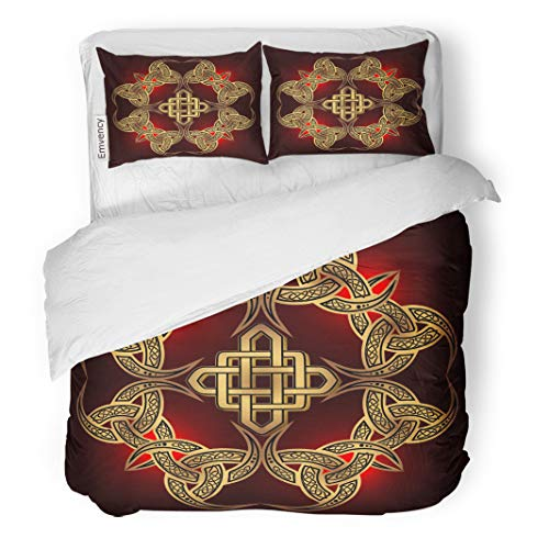 Semtomn Decor Duvet Cover Set Twin Size Air Golden Ancient Pagan Scandinavian Sacred Symbol The Druids 3 Piece Brushed Microfiber Fabric Print Bedding Set Cover ()