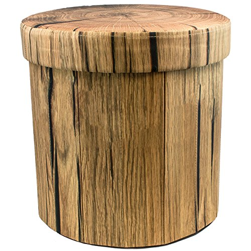 Sorbus Storage Ottoman, 15 Inch Cute 3D Play Room Stool Toy Box - Foldable with Lid - Perfect Footstool, Pouffe, Hassock, Strong & Sturdy Space Saving Chest (Tree Stump)