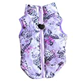 Pet Vest Jacket,Coat for Small Dogs Cartoon Printed Vest Harness Puppy Winter Padded Warm Clothing Purple