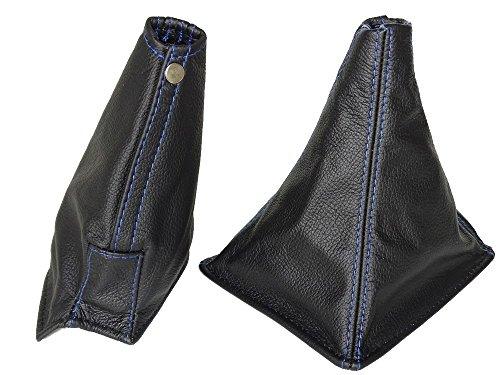 R32 Skyline (The Tuning-Shop Ltd For Nissan Skyline R32 1989-1994 Gear & Handbrake Gaiter Black Leather Blue Stitching)