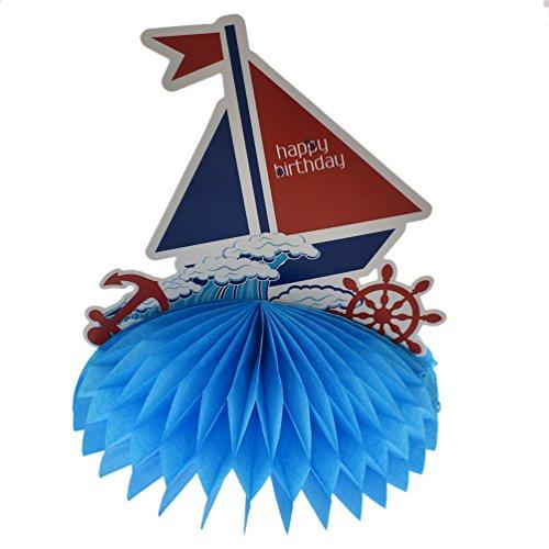 - BetterUS Paper Honeycomb Sailboat Table Decoration Nautical Sailor Sailboat Party Favor Supply