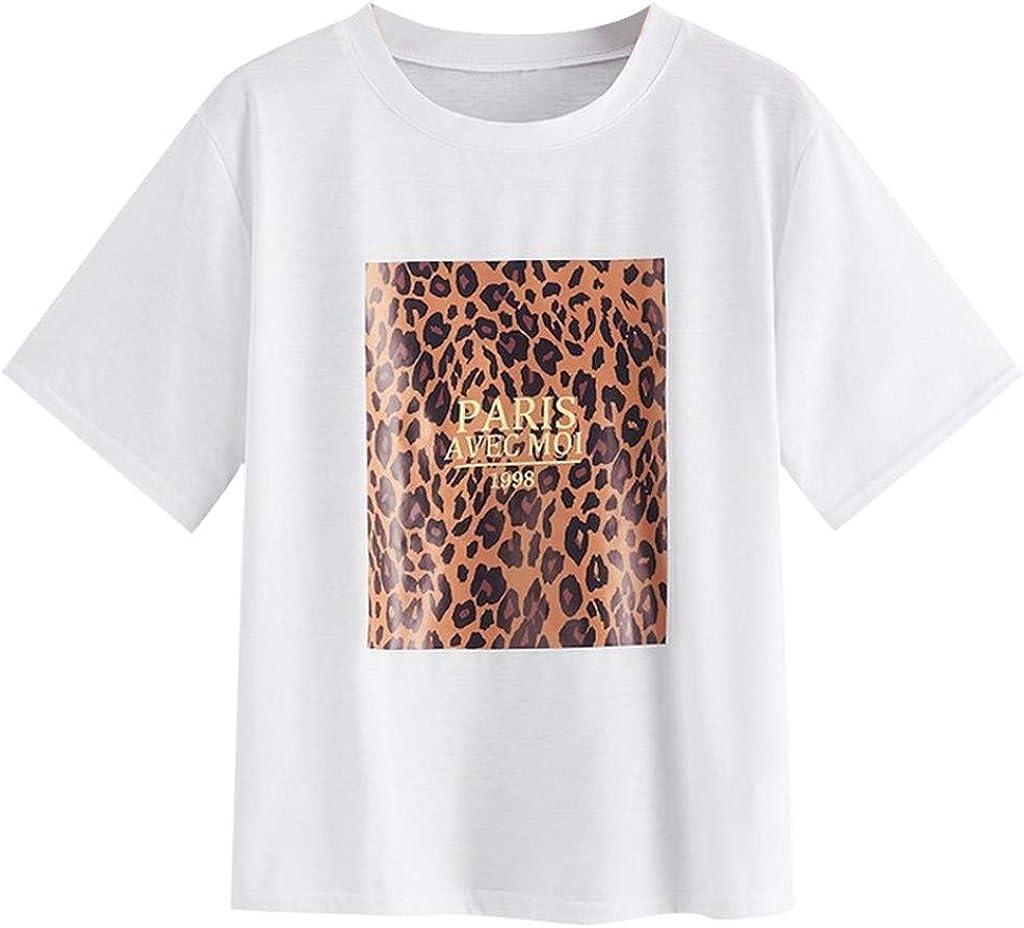 Camiseta de Mujer, Verano Moda Manga Corta Leopardo Impresión Blusa Elegante Camisa Cuello Redondo Basica Camiseta Tops Casual Fiesta T-Shirt Original tee vpass: Amazon.es: Ropa y accesorios