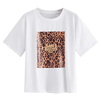 949b71186c827f 〓COOlCCI〓Womens Leopard Print Round Neck Short Sleeve Tee Tops T-Shirts for