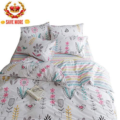 BuLuTu Floral Bird Print Pattern Girls Duvet Covers Queen White Premium Cotton Spring Blossom Colorful Reversible Kids Bedroom Comforter Cover Full Bedding Sets Zipper for Teen Toddler,NO Comforter
