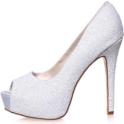 Sarahbridal Women Open Peep Toe Shoes Bridal Pumps Heels Wedding Shoes SZXF3128-01A (4 UK - 7 UK) Ivory-01A l07sK