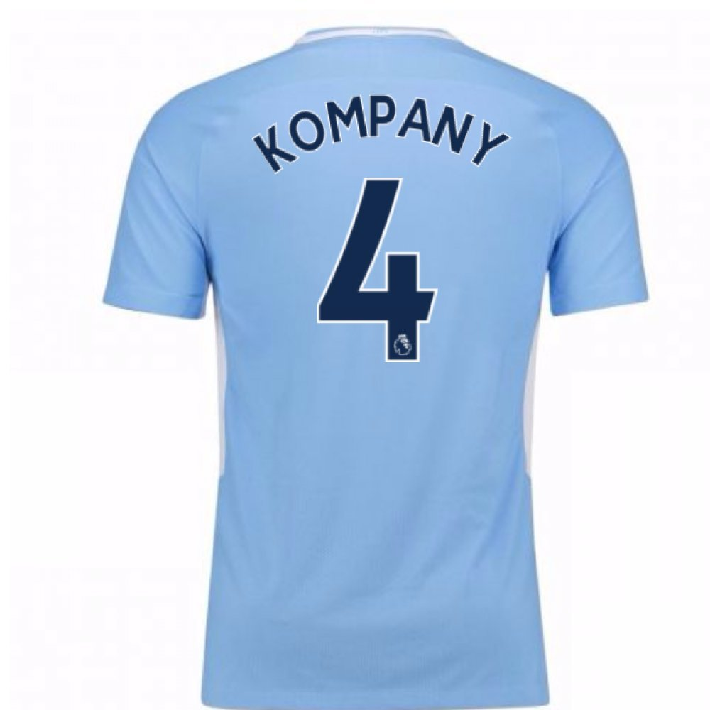 2017-18 Man City Home Football Soccer T-Shirt Trikot (Vincent Kompany 4)